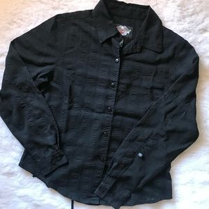 Embossed Semi Sheer Button Up Shirt